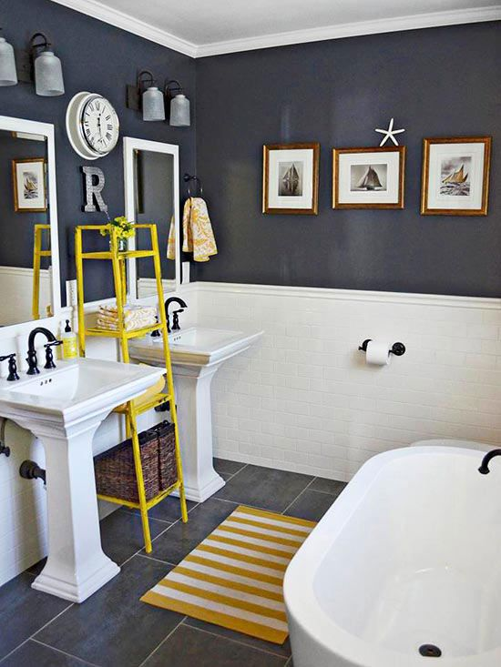 37 navy blue bathroom floor tiles ideas and pictures Navy blue and white bathroom