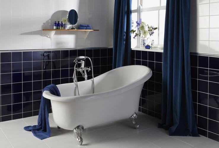Navy blue tiles bathroom amazing blue navy blue tiles Navy blue and white bathroom