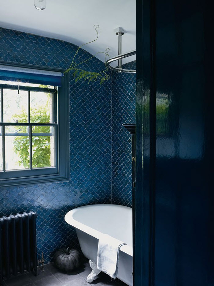 40 navy blue bathroom tiles ideas and pictures for Salle de bain moderne houzz