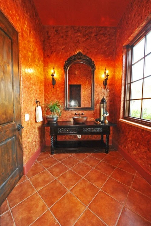 excellent orange bathroom floor | 40 orange bathroom tiles ideas and pictures 2019