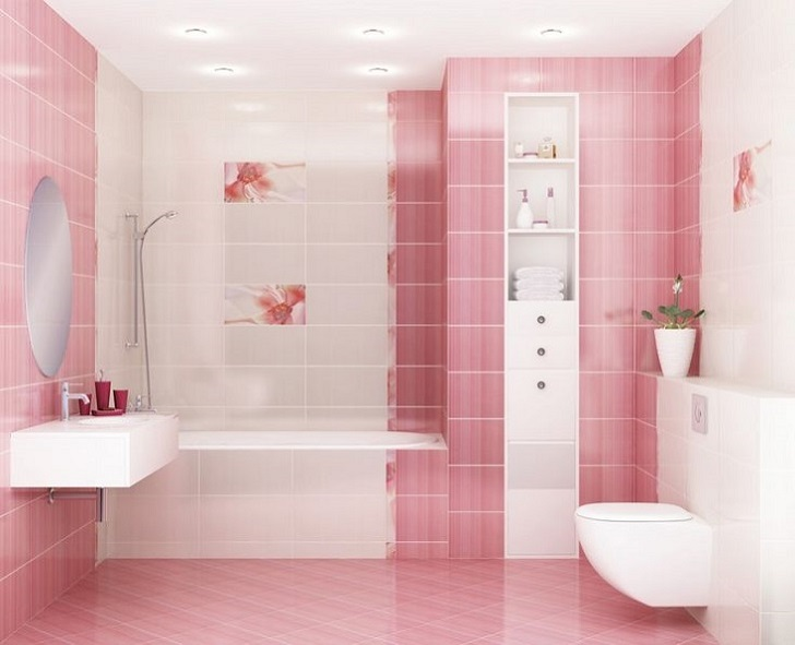39 pink bathroom tile ideas and pictures for Pink and orange bathroom ideas