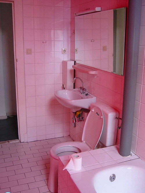 35 pink bathroom floor tiles ideas and pictures for Pink and brown bathroom ideas