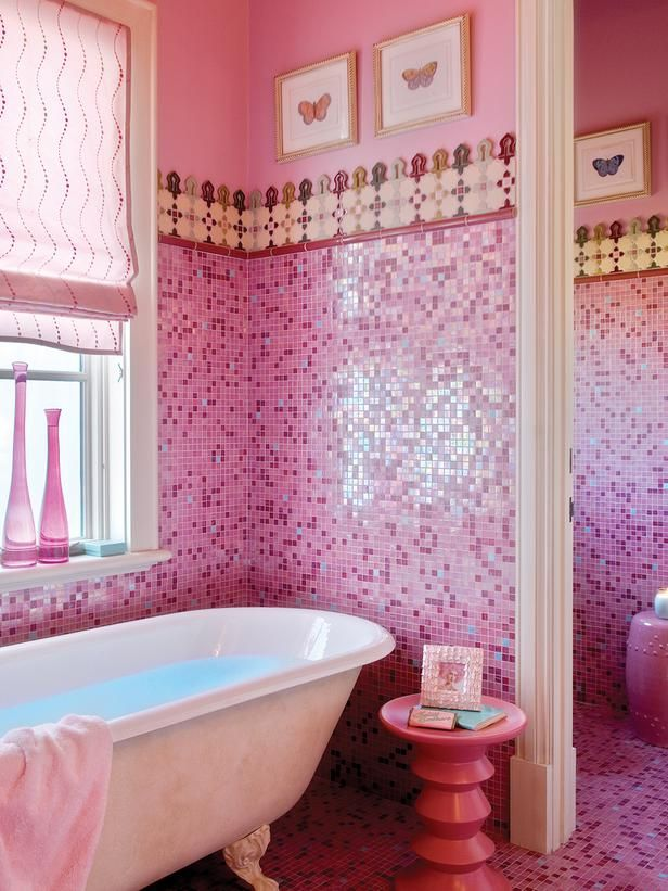 Rose pink bathroom ideas : Pink bathroom floor tiles ideas and pictures