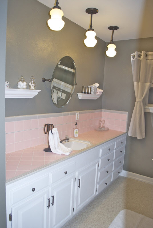 37 pink bathroom wall tiles ideas and pictures for Pink and grey bathroom decor