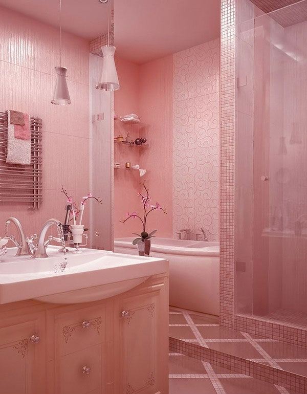 Awesome Pink Bathroom Ideas for Girls Covered Shower Silver Faucet