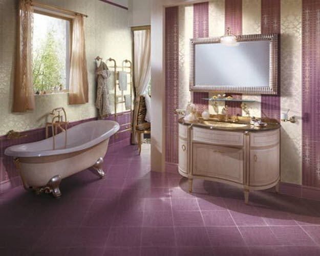 24 purple bathroom floor tiles ideas and pictures for Bathroom decor purple