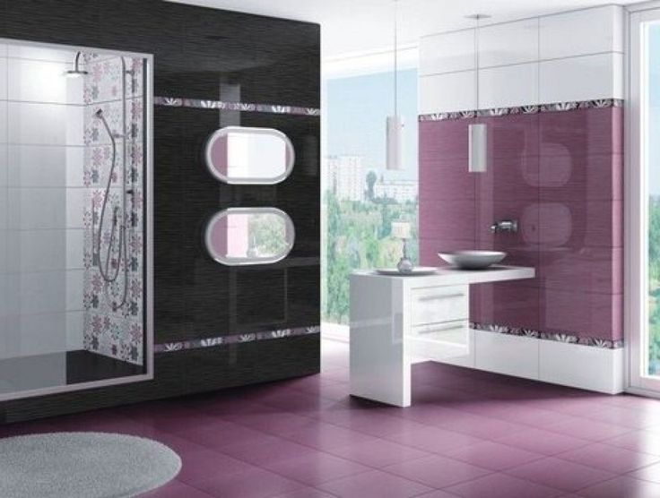 Beautiful Bathroom  Bathroom Tile Design Patterns With Purple Colour Bathroom
