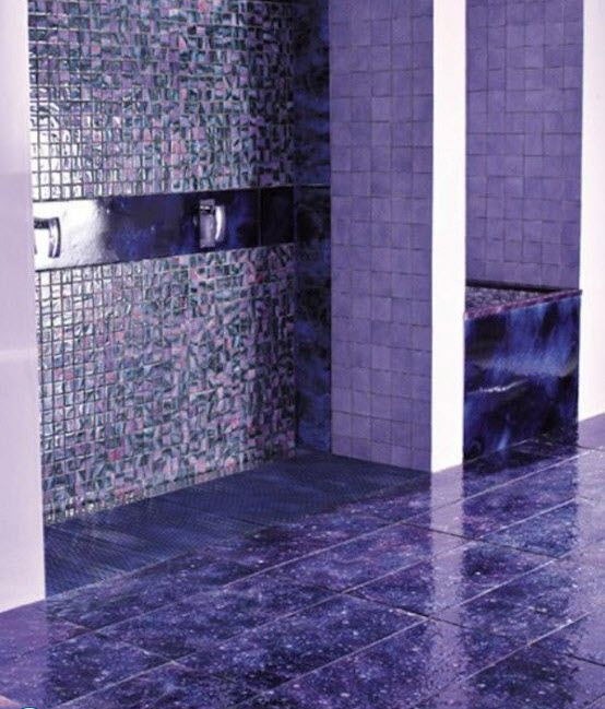 24 purple bathroom floor tiles ideas and pictures for Purple bathroom tiles ideas