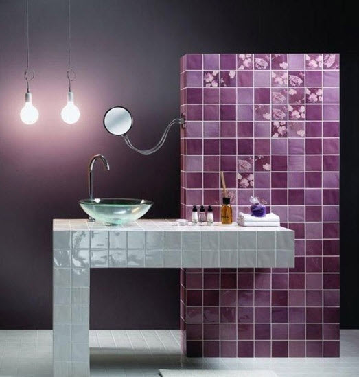 Purple And Black Bathroom: 36 Purple Bathroom Wall Tiles Ideas And Pictures