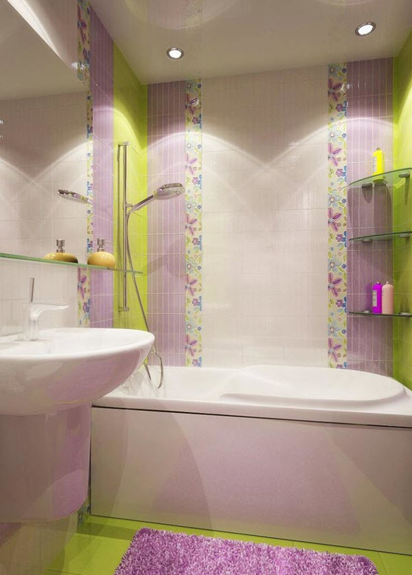 Purple Bathroom Wall Tiles White Porcelain Tile