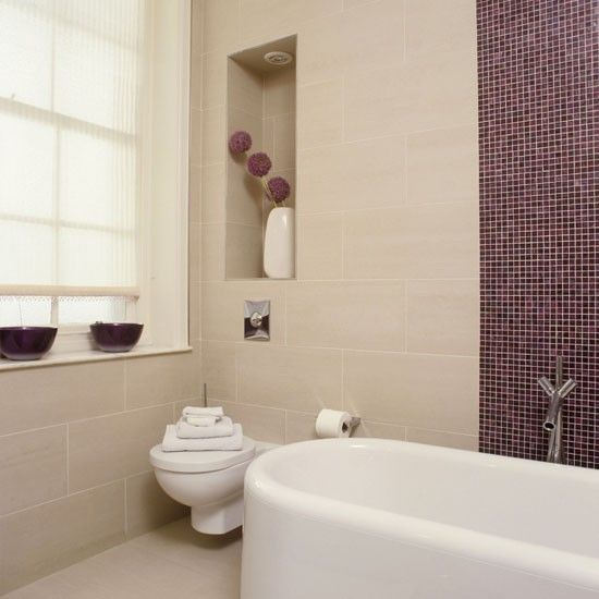 36 purple bathroom wall tiles ideas and pictures for Bathroom tile colour schemes