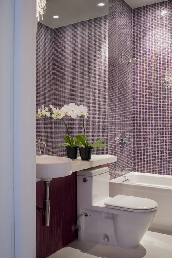 36 purple mosaic bathroom tiles ideas and pictures for Purple bathroom tiles ideas