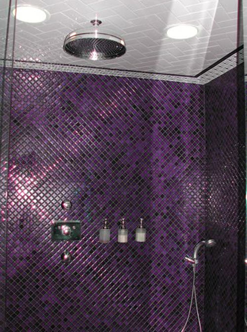 36 Purple Mosaic Bathroom Tiles Ideas And Pictures