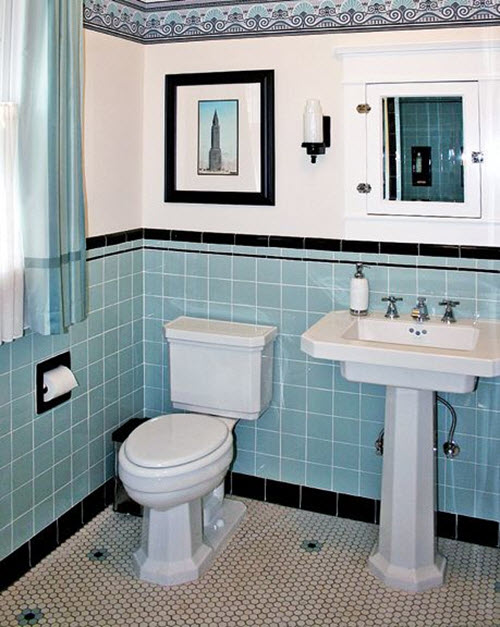 40 retro blue bathroom tile ideas and pictures for Bathroom ideas 1920s home