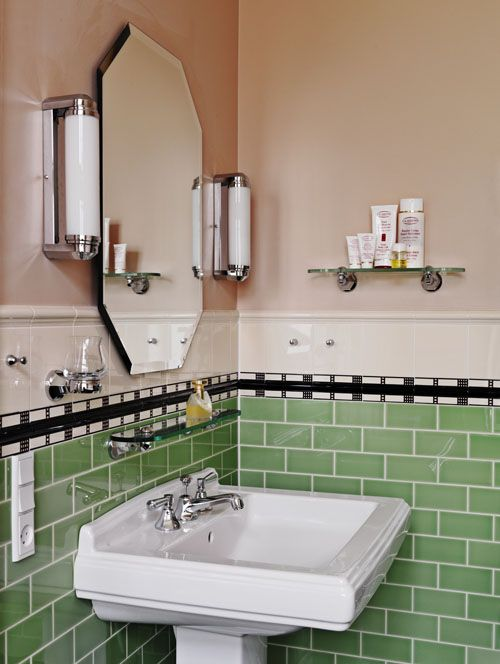 36 retro green bathroom tile ideas and pictures for Bathroom design 1930 s home