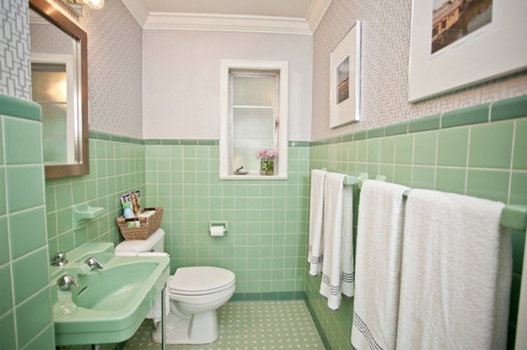 green and white tiles for bathroom 36 retro green bathroom tile ideas and pictures 25284