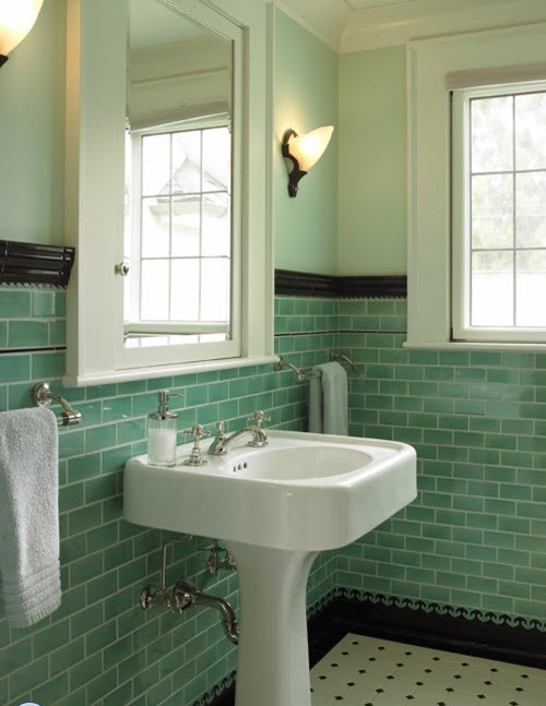 48 Retro Green Bathroom Tile Ideas And Pictures Mesmerizing Retro Bathrooms