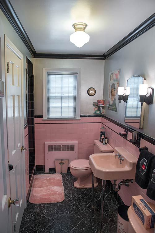 retro pink bathroom tile ideas and pictures, Home design/