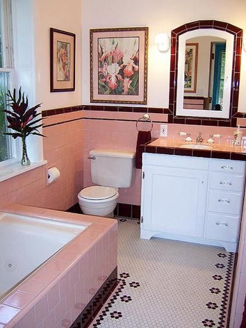 36 retro pink bathroom tile ideas and pictures for Pink and brown bathroom ideas