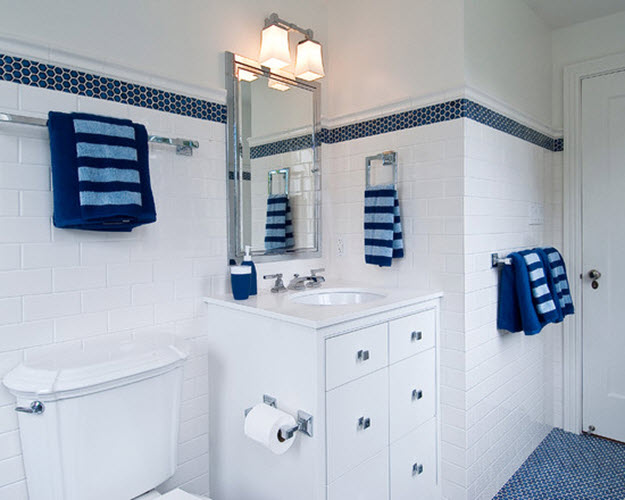 Bathroom With Blue Accent Tiles