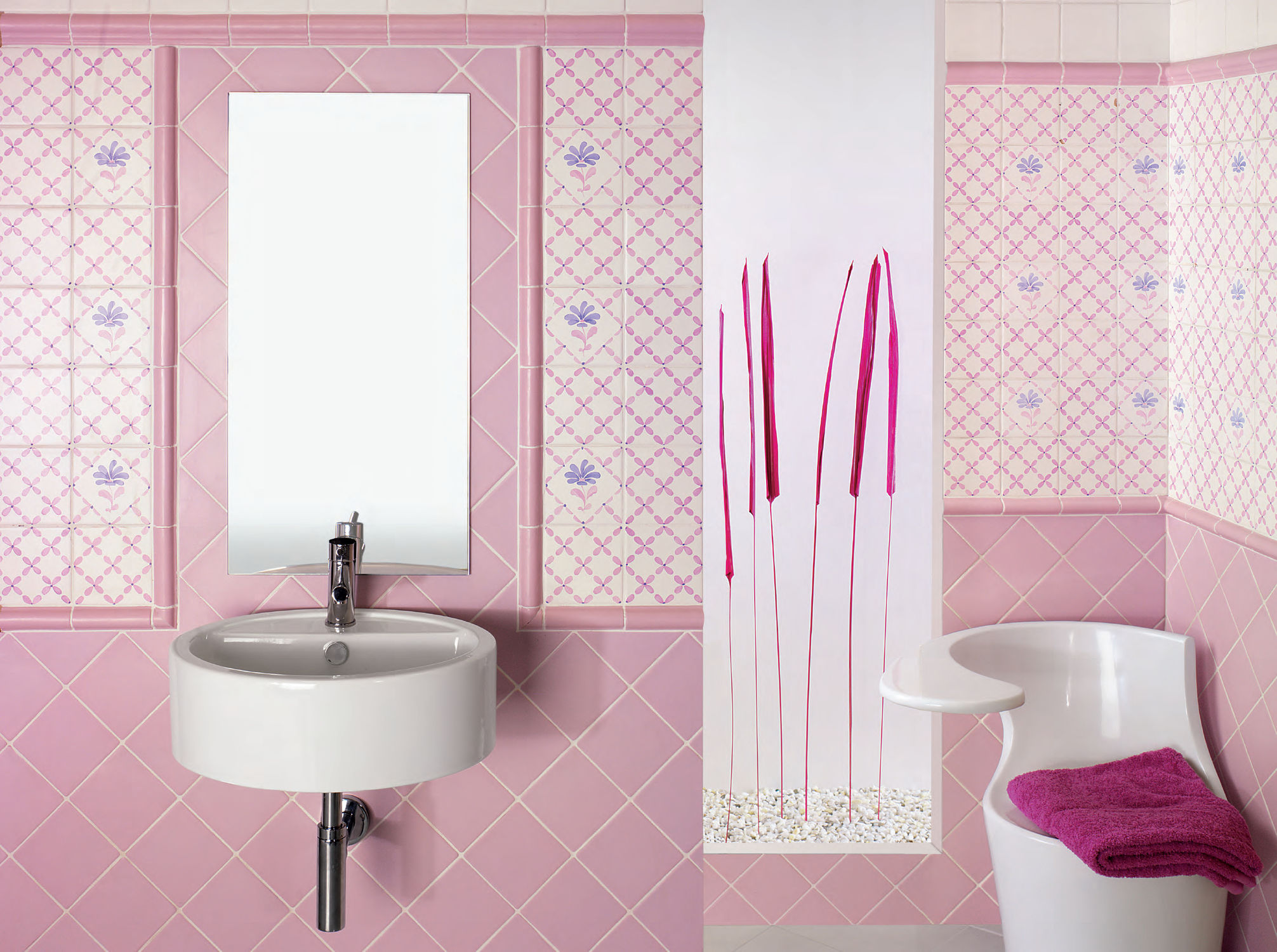 40 vintage pink bathroom tile ideas and pictures for Tiles bathroom design
