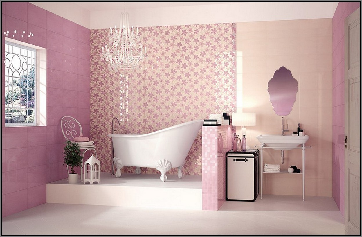 40 vintage pink bathroom tile ideas and pictures for Pink black bathroom ideas