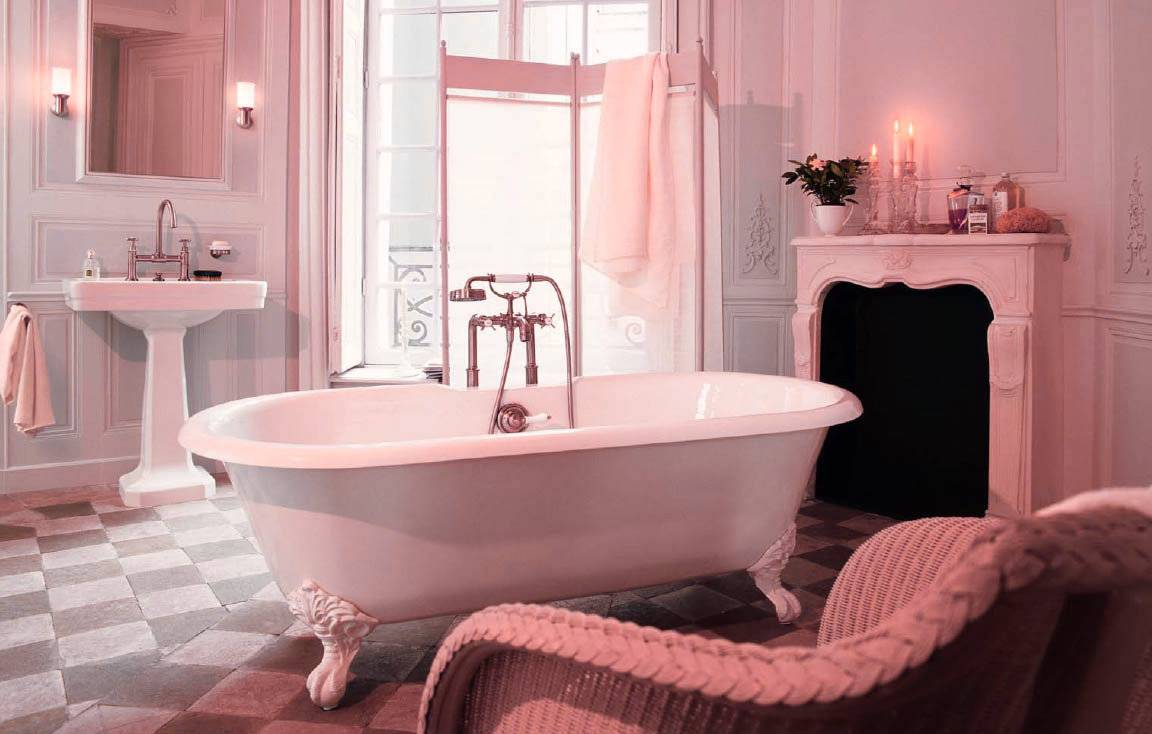 ... Pink Touching Sense In Vintage Pastel Bathroom Design ...