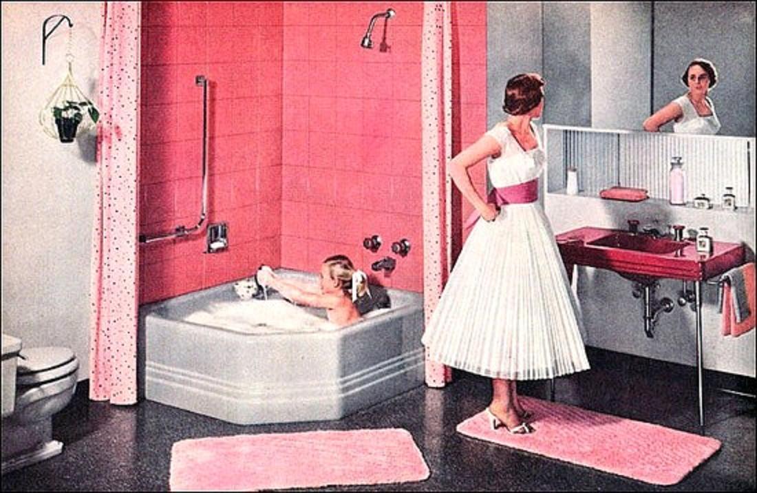Pink Touching Sense In Vintage Pastel Bathroom Inspiration
