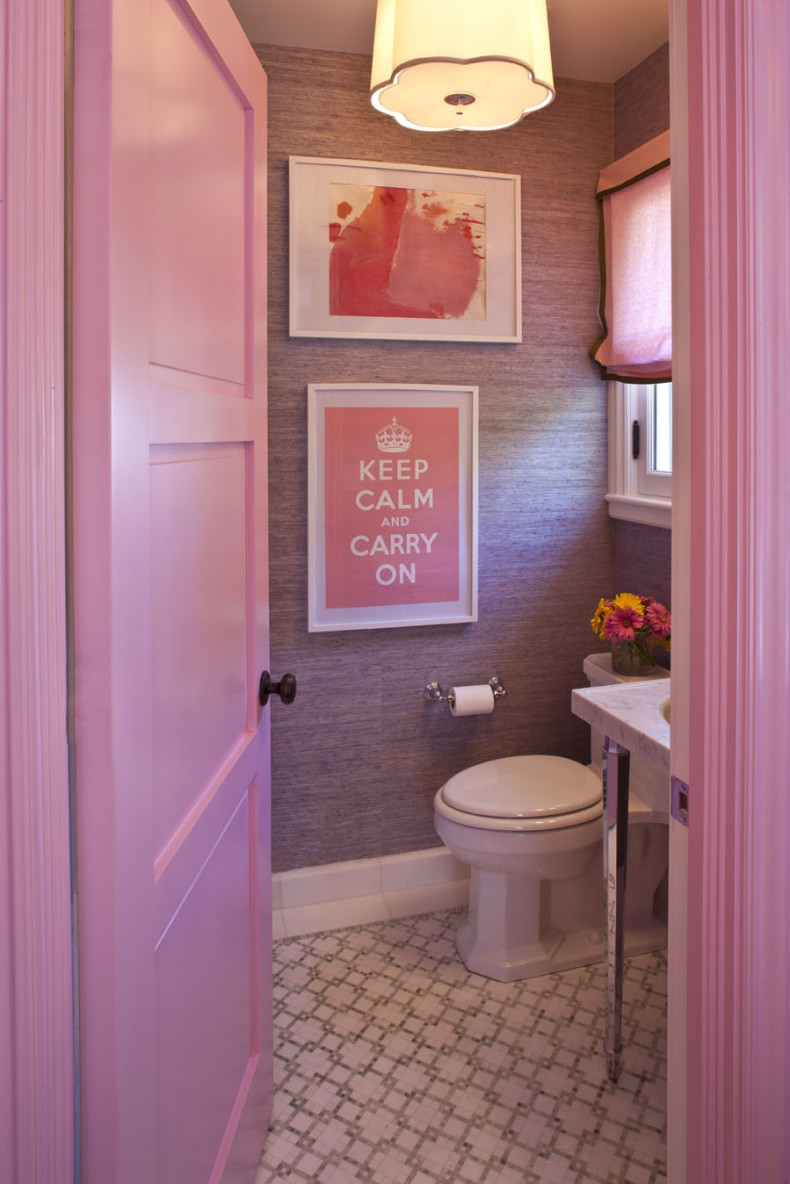 40 vintage pink bathroom tile ideas and pictures for Pink and grey bathroom decor