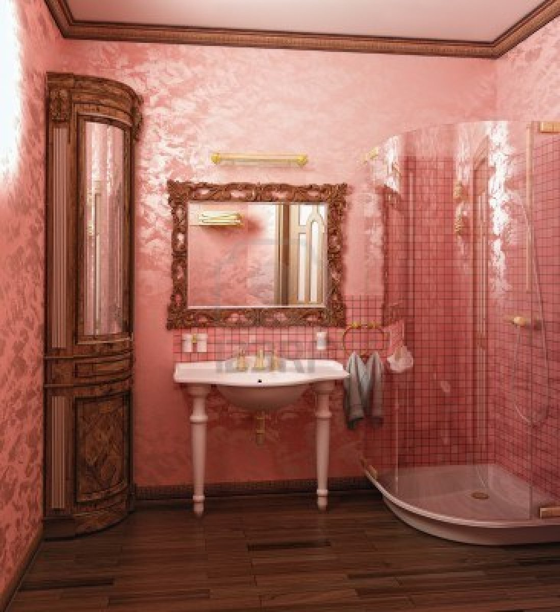 Kitchen Interior With Pink Furniture And Tiles Stock: 40 Vintage Pink Bathroom Tile Ideas And Pictures 2019