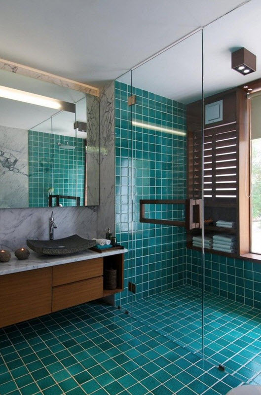 Model Elegantly Appointed Tiffany Blue Bathroom Boasts A Clam Shell Light Pendant Hung Above Mosaic Marble Floor Tiles Framing An Ivory Washstand Adorning Nickel Pulls And A Gray Marble Countertop Chic Powder Room Boasts Walls Clad In Brown