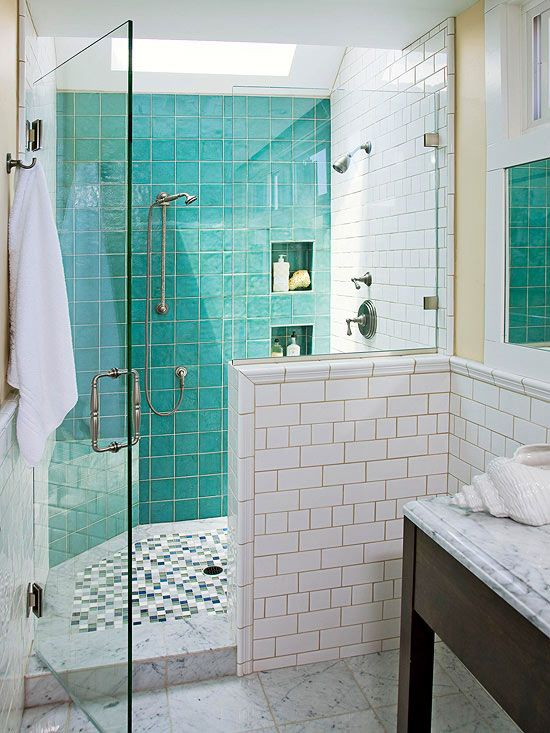 39 blue green bathroom tile ideas and pictures for Bathroom ideas yellow tile