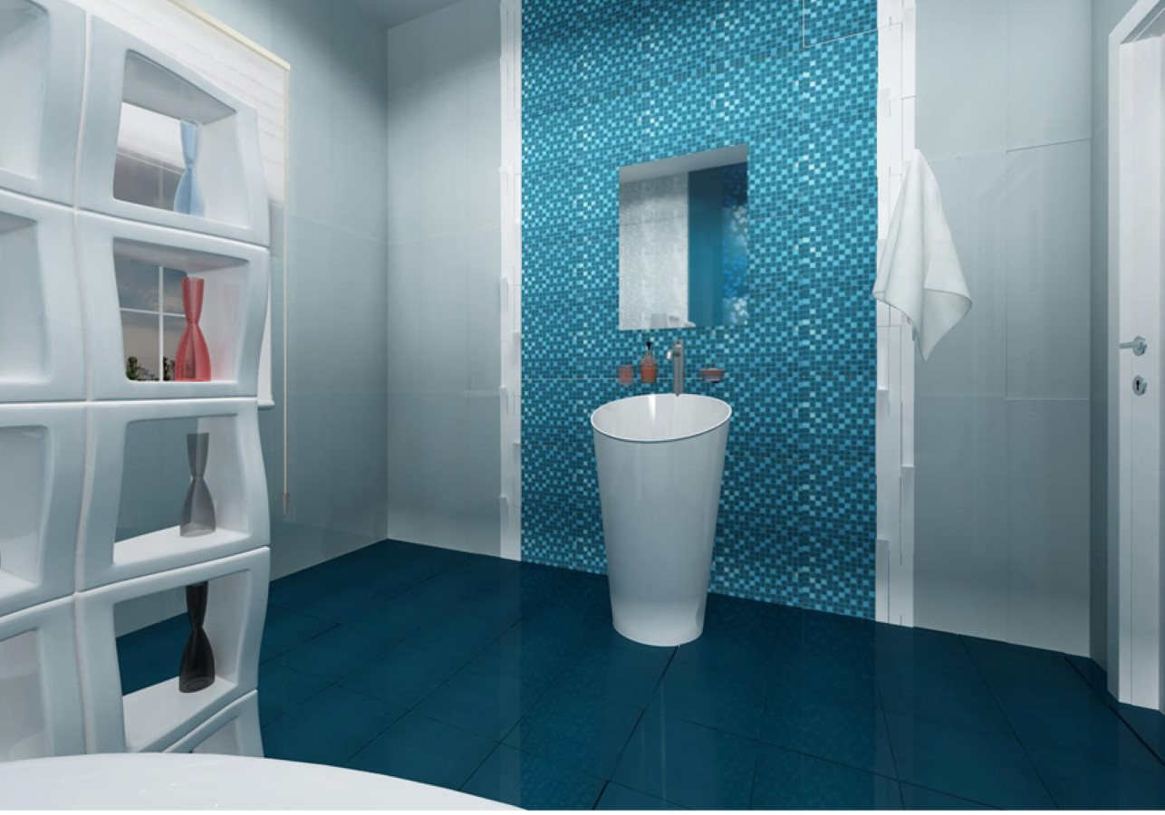 40 vintage blue bathroom tiles ideas and pictures for Designer bathroom flooring