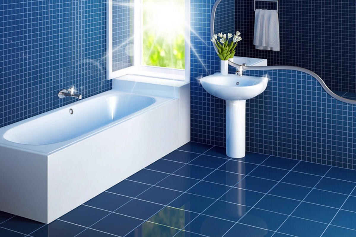 White-Bathroom-Interiors-On-Blue-Ceramic-Floor-And-Wall-Tile-Plus-Fresh-Flower-And-Window-Design