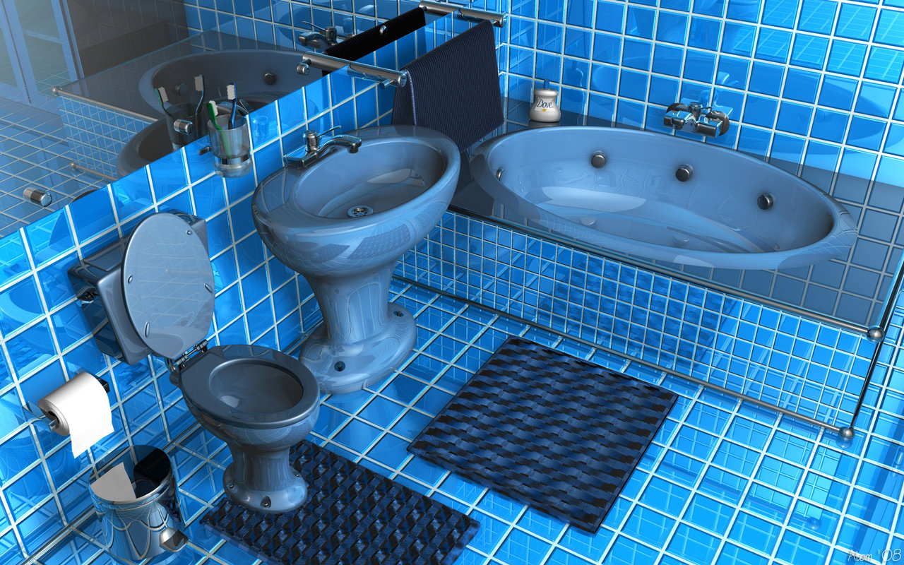 admirable-glossy-blue-square-tile-bathroom-ideas-also-shiny-ceramic-bathtub-toilet-and-pedestal-sink