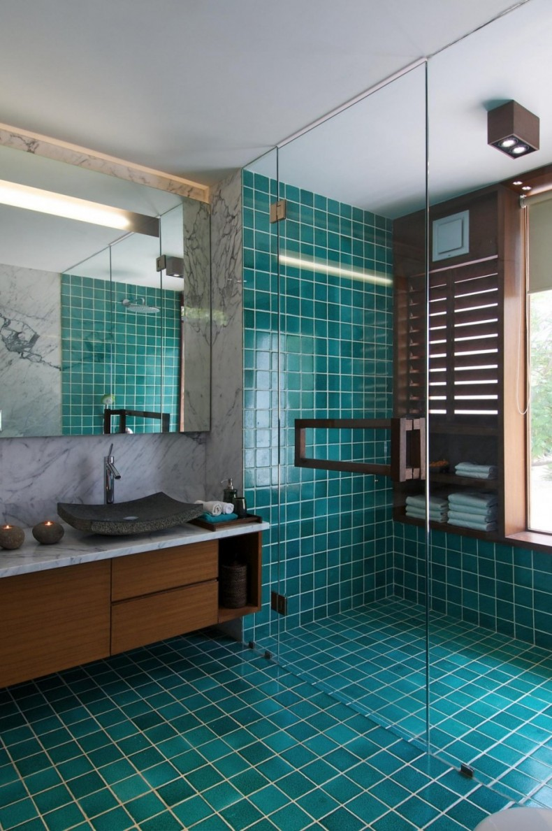 Model Maintaining A Bathroom Cleanness Are Of Utmost Importance Modern Bathroom Designs Are Covered From The Top To The Bottom In Tiles That Are Easy To Clean  Furniture Along With A Light Color For Design Like Sky Blue, Mint Green Or Beige