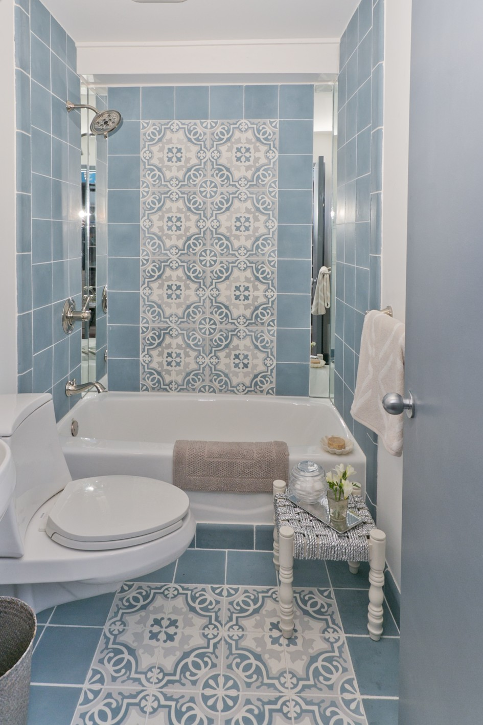 minimalist blue tile pattern bathroom decor also cute bathtub