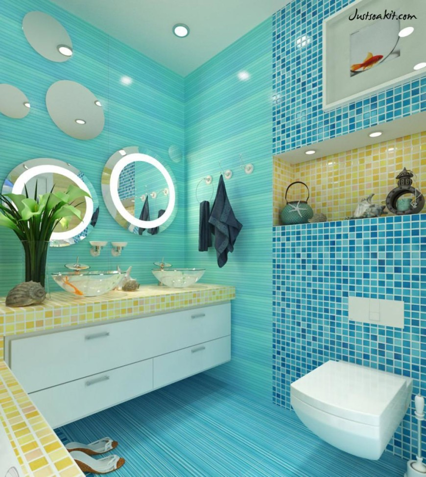 Vintage Tiles Bathroom: 40 Vintage Blue Bathroom Tiles Ideas And Pictures