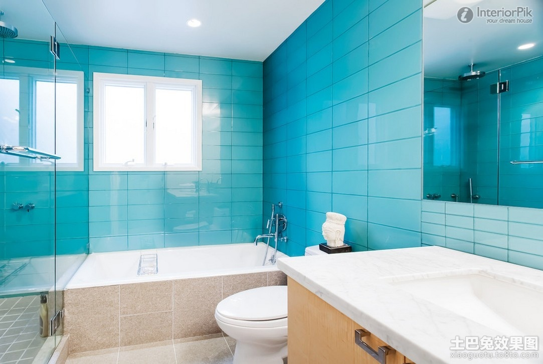 37 small blue bathroom tiles ideas and pictures for Blue sky bathroom tile floor decoration