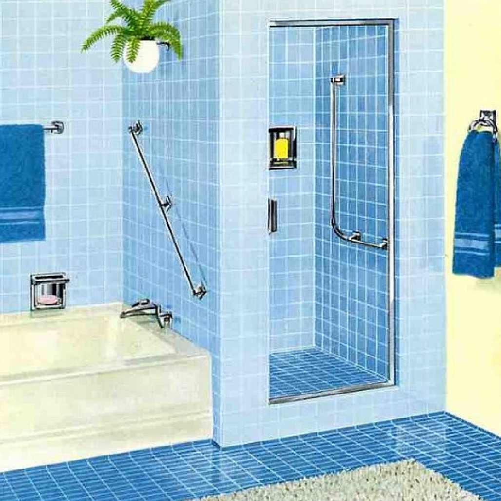 Blue and white bathroom floor tiles -  Interior Bathroom New Model Bathroom Design Ideas With