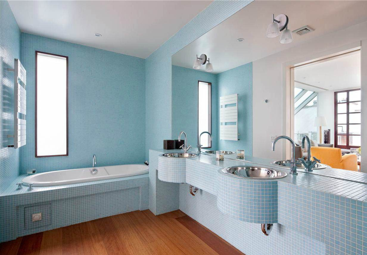 splendid-fashionable-blue-bathroom-paint-color-with-light-blue-small-tile-for-bathroom-wall-and-double-vanity-also-wood-board-flooring-idea