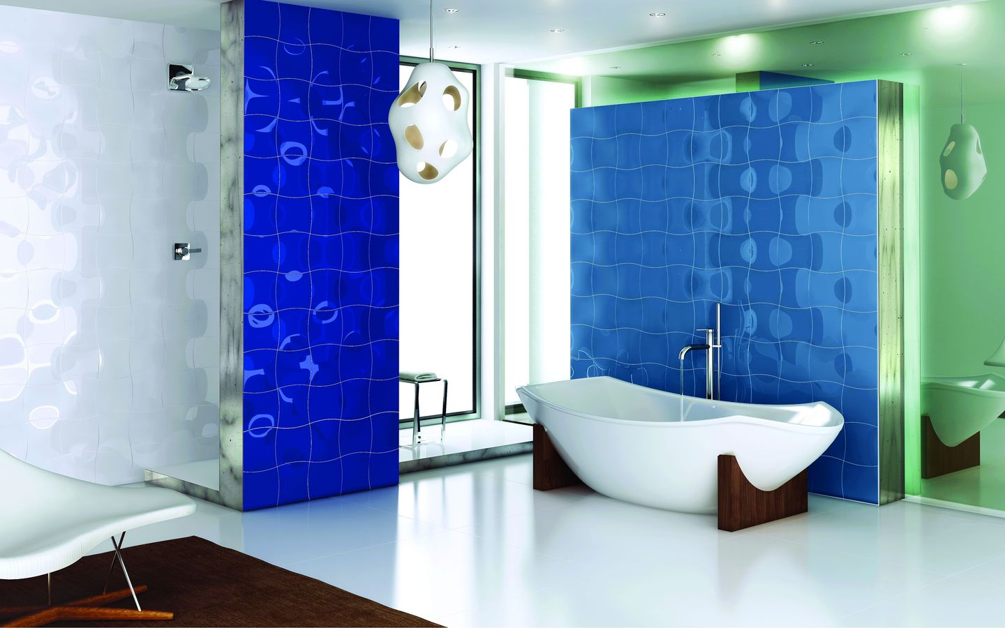 37 small blue bathroom tiles ideas and pictures for Carrelage mural original