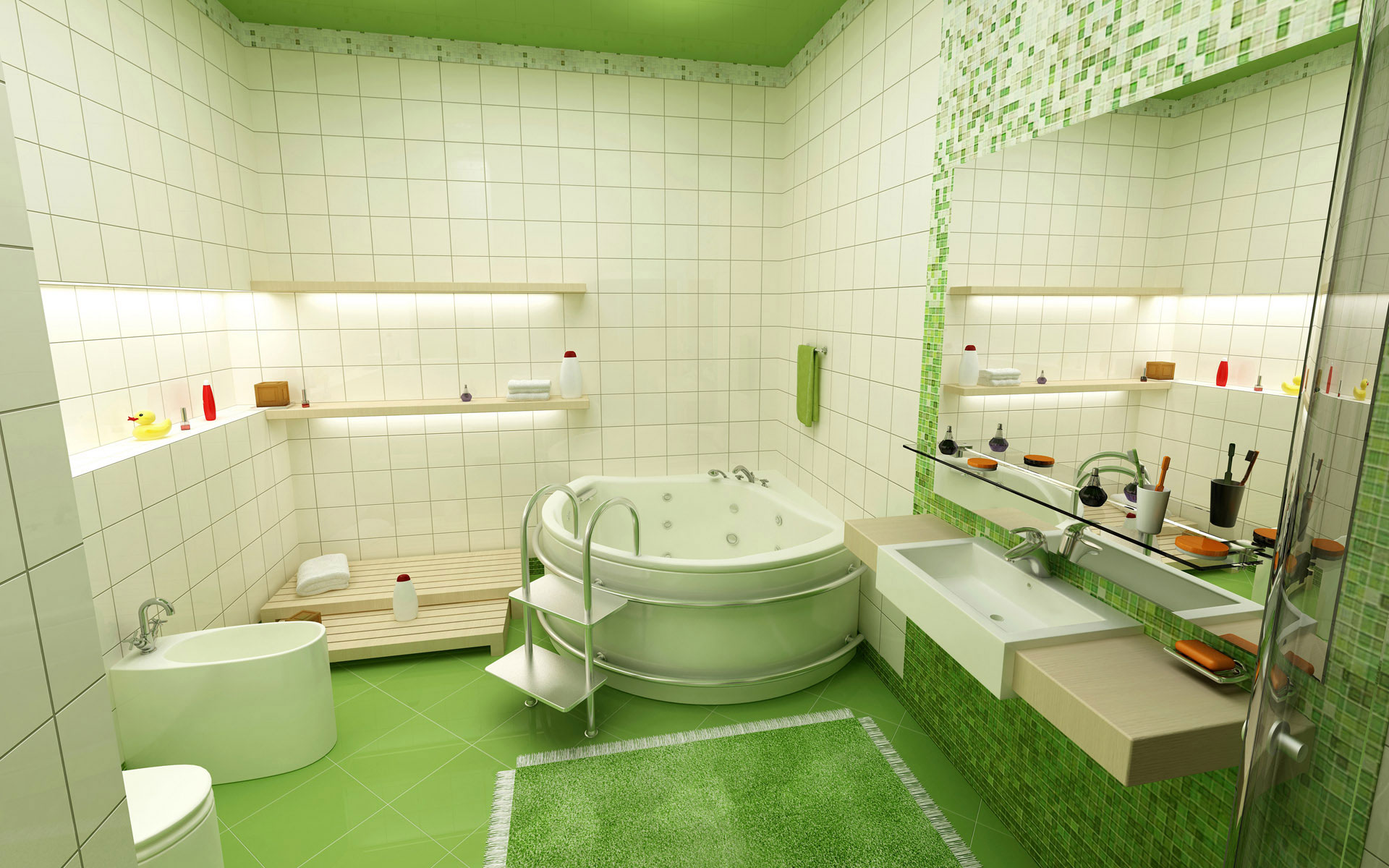 green-bathroom-tile