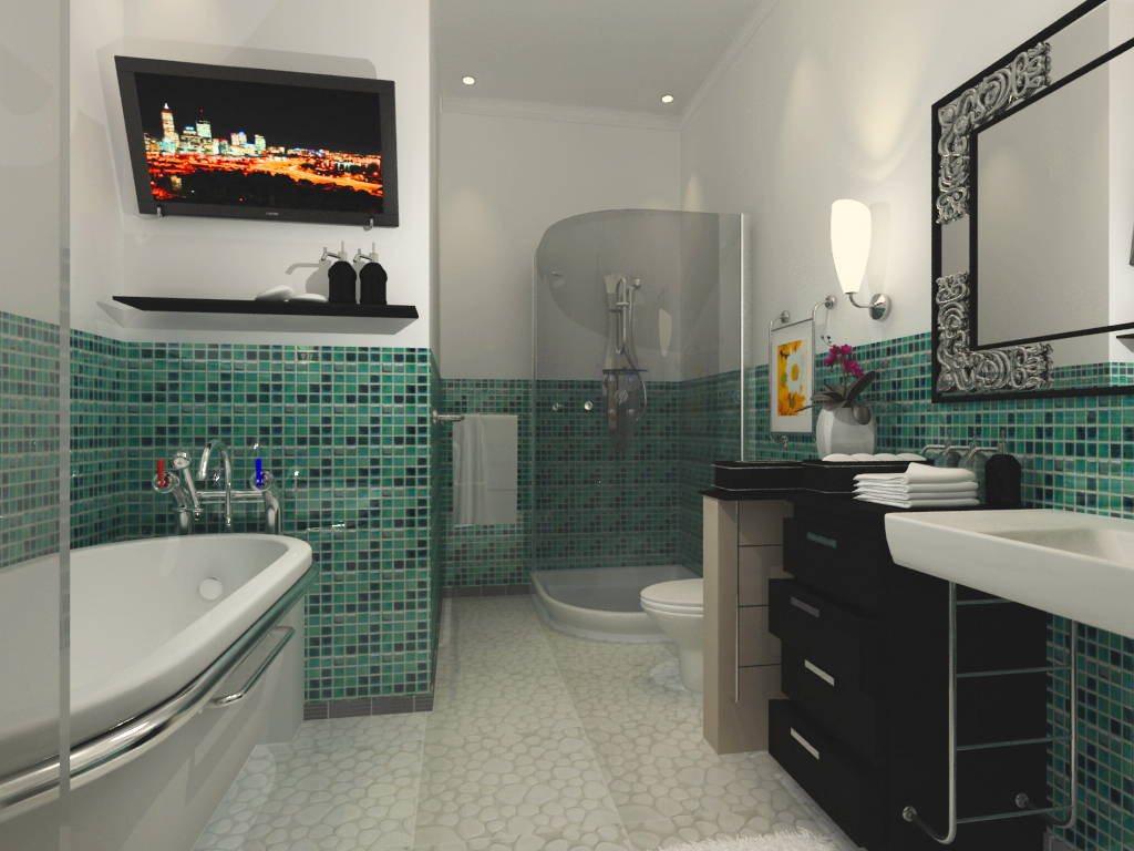 large bathroom design with mosaic wall small bathroom - Large Bathroom Designs