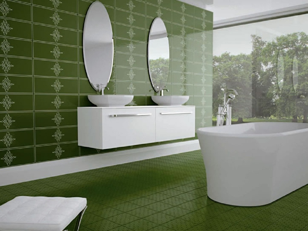 Green and white bathroom -  White Green Tile Ideas For Small Bathrooms