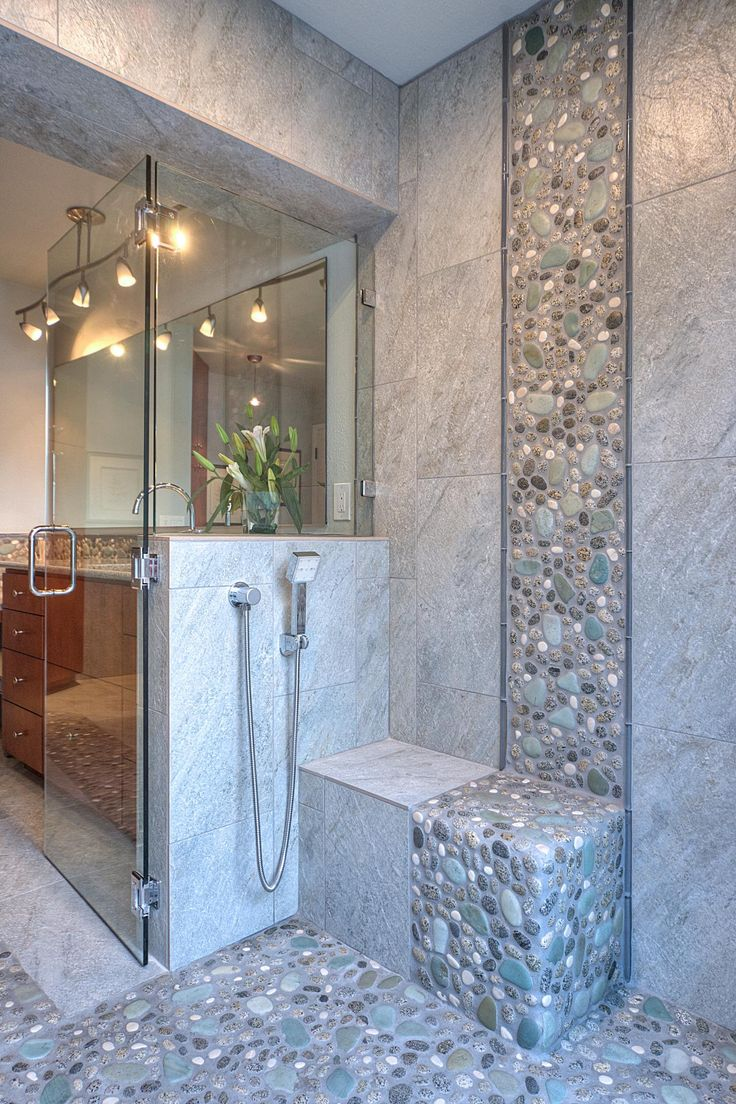 30 grey natural stone bathroom tiles ideas and pictures for Bath tile design ideas photos