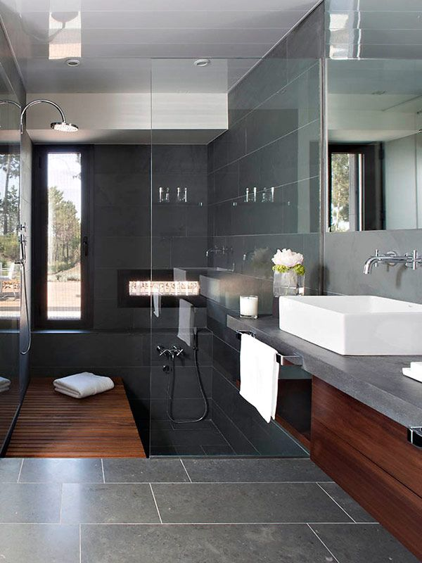 35 stunning ideas for the slate grey bathroom tiles in your home