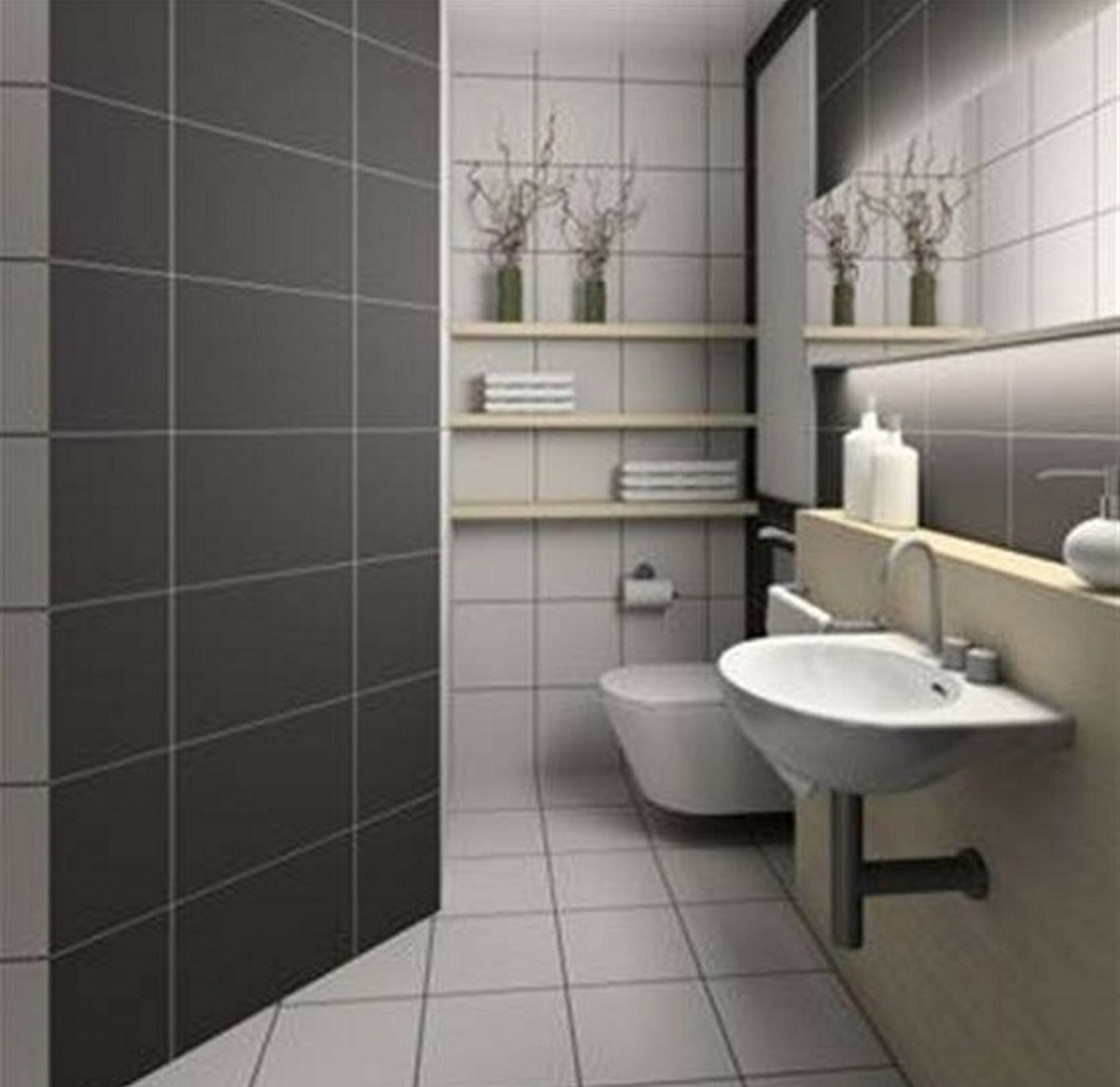 1-Color-ideas-for-bathrooms-grey-color-bathroom-tile-pedestal-sink-shelves-wide-mirror-toilet-flower-vase-bathroom-sink-ceiling-light-porcelain-bathroom-accessories-wall