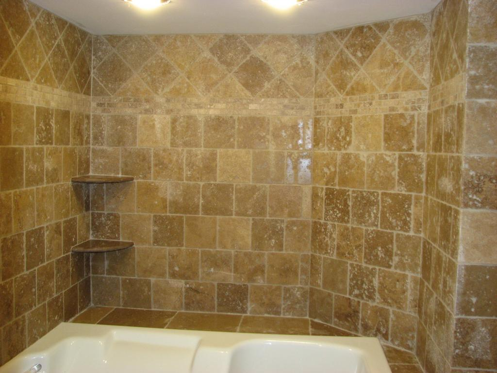 Travertine Tile Bathroom Shower.