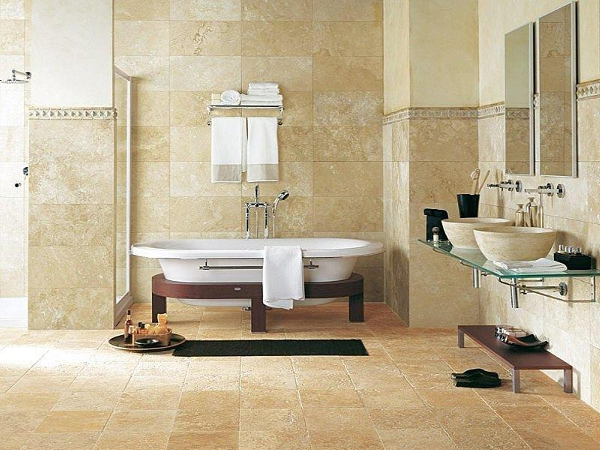 20 pictures and ideas of travertine tile designs for bathrooms for Salle de bain faience beige